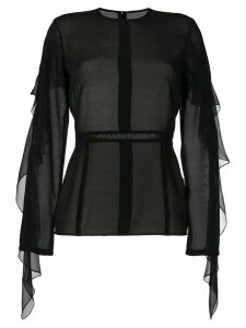 Victoria Beckham ruffle sleeved blouse - Black