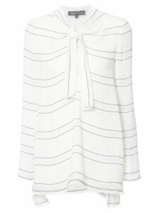 Proenza Schouler tied neck striped blouse - White