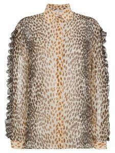 Marco De Vincenzo Silk animal print blouse with ruffles - Brown