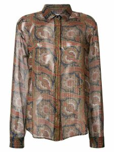 Saint Laurent paisley embroidered shirt - Brown