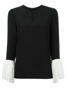 Saint Laurent contrasting bell sleeve blouse - Black