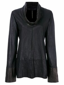 Olsthoorn Vanderwilt draped neck leather blouse - Black