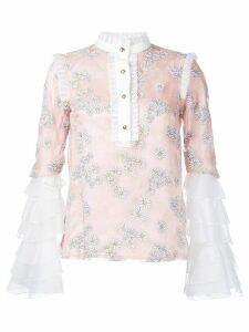 Macgraw daisy print ruffled blouse - Pink