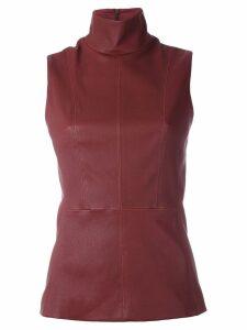 Mugler leather funnel neck top - Red