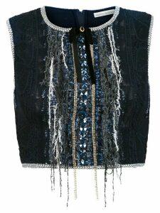 Martha Medeiros Gabriela Patches cropped blouse - Blue