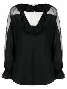 Stella McCartney sheer ruffle blouse - Black