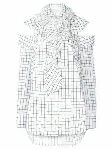 Monse square print ruffled blouse - White