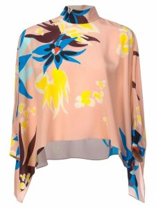 Delpozo floral print flared blouse - PINK