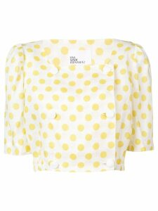 Lisa Marie Fernandez polka-dot cropped blouse - Yellow