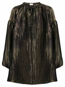 Saint Laurent neck-tied flared blouse - Metallic