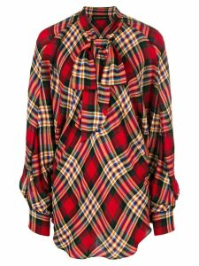 Alexandre Vauthier oversized plaid blouse - Red