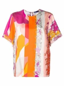 Emilio Pucci fringed detailing floral blouse - PINK