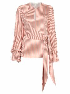 Jonathan Simkhai striped twist wrap blouse - White