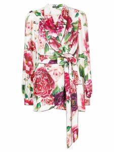 Dolce & Gabbana peony print wrap front blouse - White