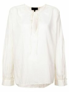 Nili Lotan tie neck flared blouse - White