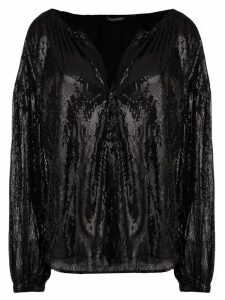 Wandering sequined flared blouse - Black