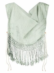 Caravana draped cowl neck fringe top - Green