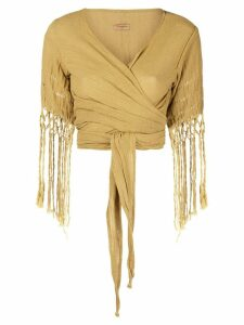 Caravana wrap top with fringe sleeves - Yellow