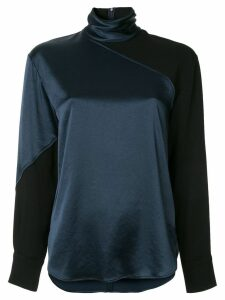 Cédric Charlier color-block high-neck blouse - Blue