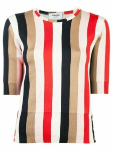 Thom Browne striped half sleeve top - White