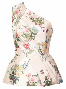 Monique Lhuillier one-shoulder floral print blouse - PINK