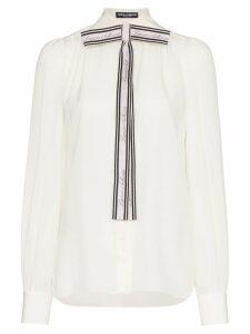 Dolce & Gabbana front logo bow blouse - White