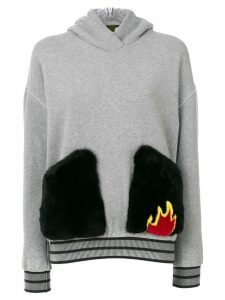 Mr & Mrs Italy patch fur pocket hoodie - Grey