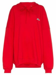 We11done oversized logo patch cotton hoodie - Red