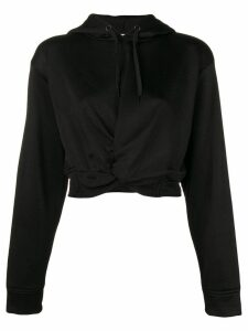 T By Alexander Wang cropped twist front hoodie - Black