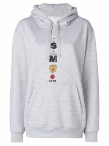 Sandra Mansour Front embroidered hoodie - Grey