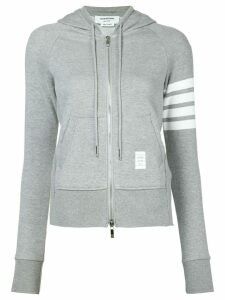 Thom Browne Womens Full Zip Hoodie With Engineered 4-Bar Stripe - Grey