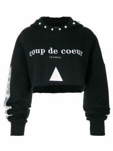 Coup De Coeur cropped pearl hoodie - Black