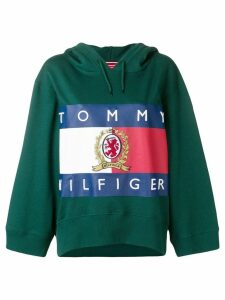 Hilfiger Collection logo print cropped hoodie - Green