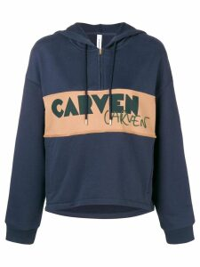Carven logo patch half zip hoodie - Blue
