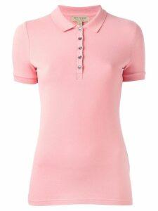 Burberry Check Trim Stretch Cotton Piqué Polo Shirt - Pink