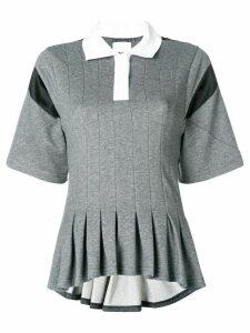 Koché peplum short-sleeve polo top - Grey