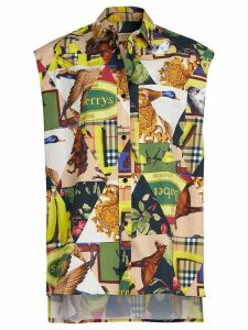 Burberry Sleeveless Archive Scarf Print Stretch Cotton Shirt -