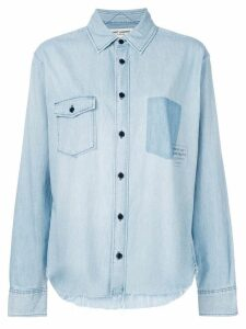 Saint Laurent logo patch denim shirt - Blue