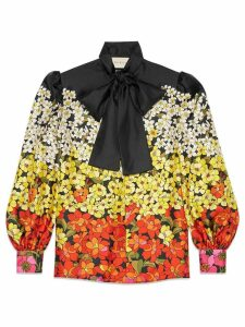Gucci Degradé flowers silk twill shirt - Black