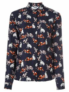 MSGM cat print long-sleeve shirt - Blue