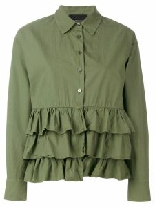 Erika Cavallini tiered hem long sleeve shirt - Green