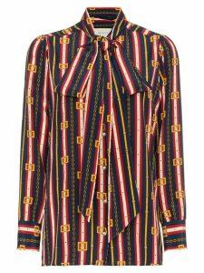 Gucci bow detail chain print silk shirt - Blue