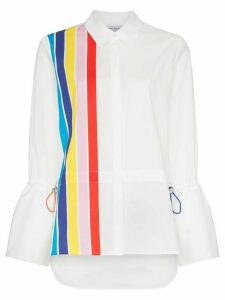 Mira Mikati stripe front shirt with drawstring pulls - White