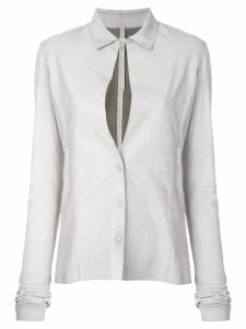 Olsthoorn Vanderwilt front slit leather shirt - Grey