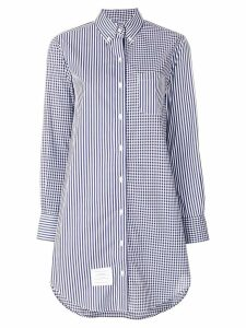 Thom Browne longline striped button-down shirt - Blue