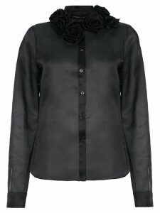Gloria Coelho flower appliqué silk shirt - Black