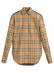 Burberry stripe dtail vintage check cotton shirt - Brown