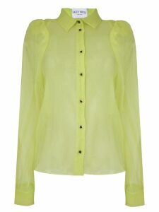 Daizy Shely sheer puffed sleeve shirt - Green