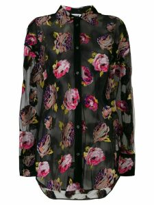 MSGM sheer floral embroidered shirt - Black