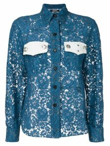 Calvin Klein 205W39nyc colour-block lace shirt - Blue